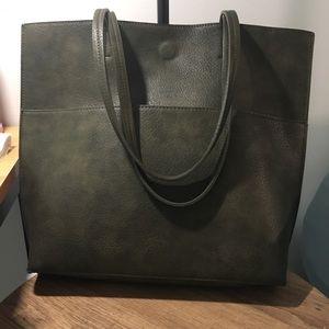 Anthropologie Dark Green Tote Bag